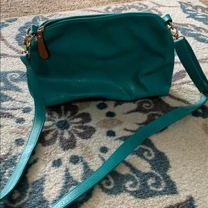 Handbags - Teal over the shoulder bag with change purse